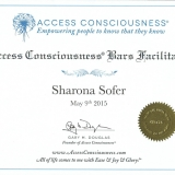 שרונה סופר –מאמנת רוחנית, מטפלת ומורה לאקסס בארס תעודות הסמכה